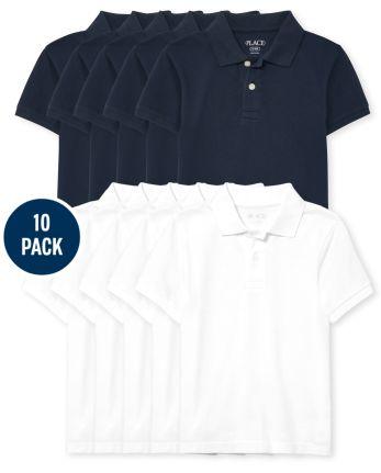 Polo de piqué de uniforme para niños, paquete de 10