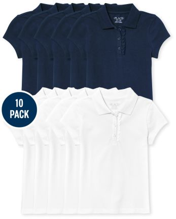 Girls Uniform Ruffle Pique Polo 10-Pack
