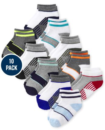 Toddler Boys Striped Cushioned Ankle Socks 10-Pack