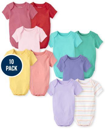 Baby Girls Rainbow Bodysuit 10-Pack