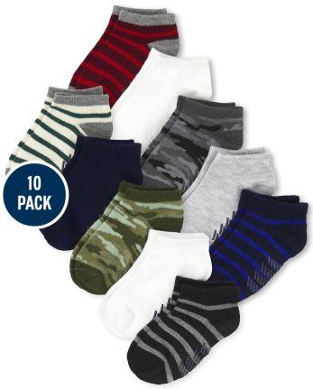 Toddler Boys Camo Striped Ankle Socks 10-Pack