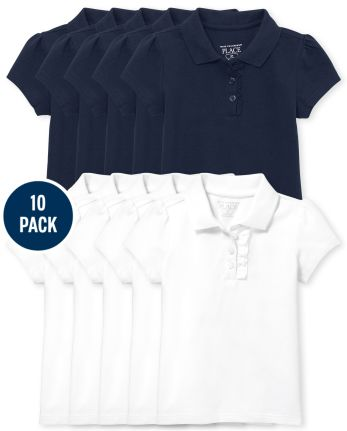 Toddler Girls Uniform Ruffle Pique Polo 10-Pack