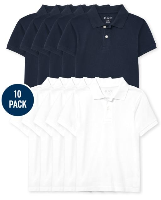 Polo de piqué de manga corta de uniforme para niños, paquete de 10