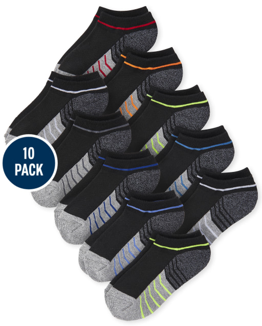 Boys Colorblock Cushioned Ankle Socks 10-Pack