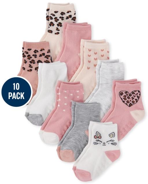 Toddler Girls Leopard Midi Socks 10-Pack