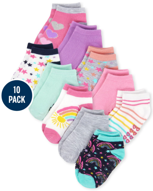 Paquete de 10 calcetines tobilleros con arcoíris para niñas pequeñas