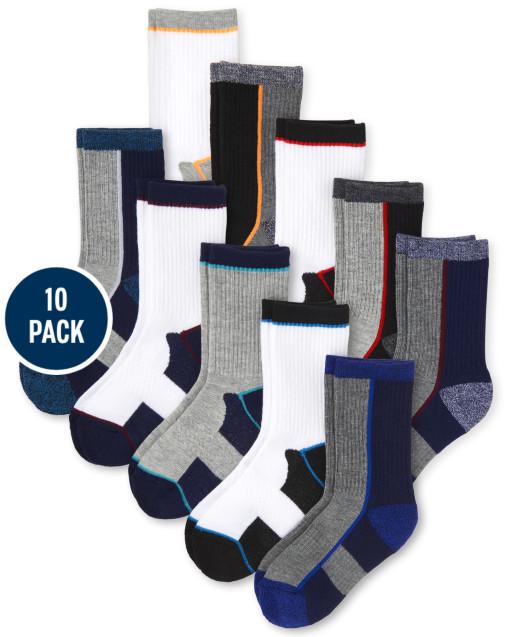 Boys Marled Cushioned Crew Socks 10-Pack