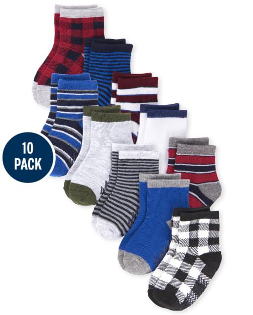Toddler Boys Striped Midi Socks 10-Pack