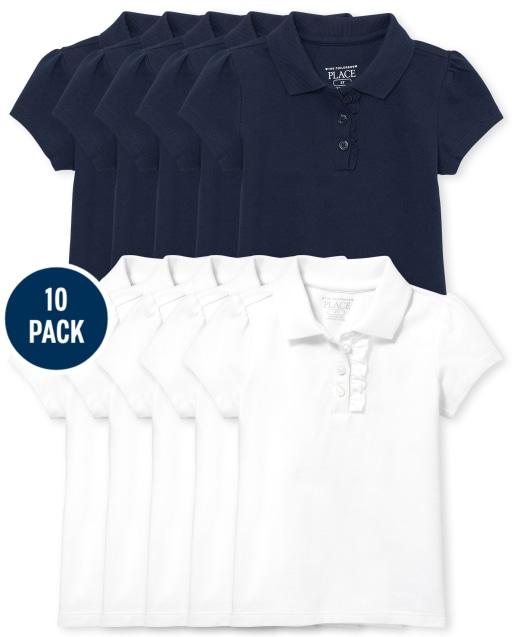 Toddler Girls Uniform Short Sleeve Ruffle Pique Polo 10-Pack