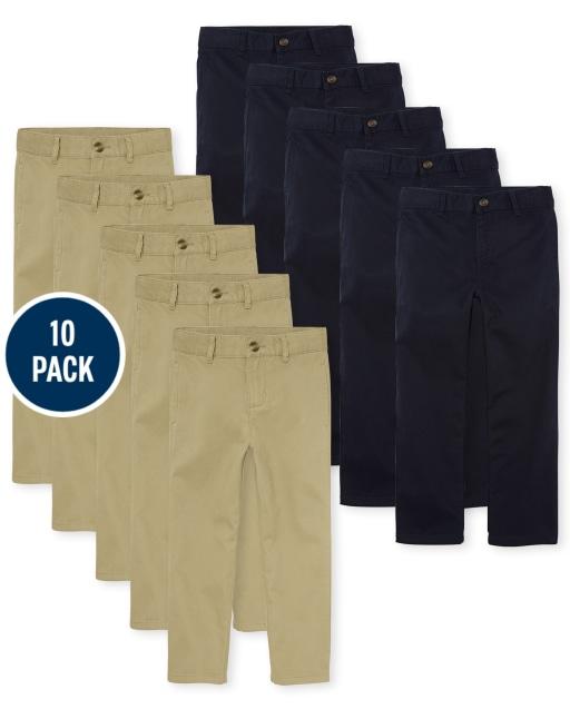 Boys Uniform Woven Stretch Chino Pants 10-Pack