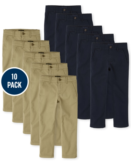 Boys Uniform Woven Stretch Skinny Chino Pants 10-Pack