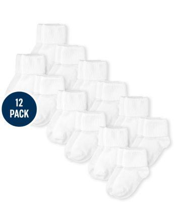 Paquete de 12 calcetines unisex con triple rollo para bebés y niños pequeños