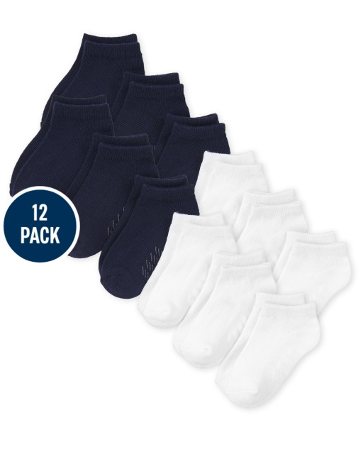 Paquete de 12 calcetines tobilleros unisex para bebés y niños pequeños