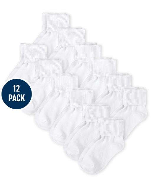 Pack de 12 calcetines con puños giratorios para niñas