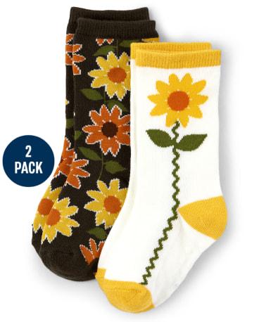Girls Sunflower Crew Socks 2-Pack - Harvest