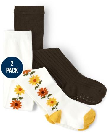 Girls Sunflower Tights 2-Pack - Harvest