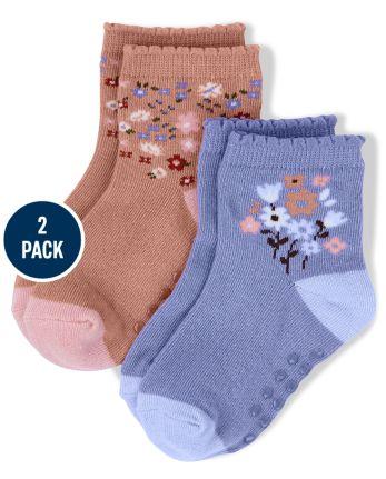 Pack de 2 pares de calcetines a media pierna con estampado floral para niñas - Western Skies