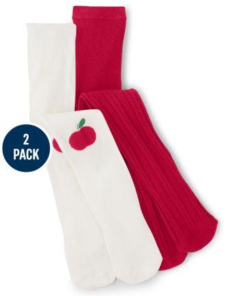 Girls Apple Tights 2-Pack - Teacher's Favorite
