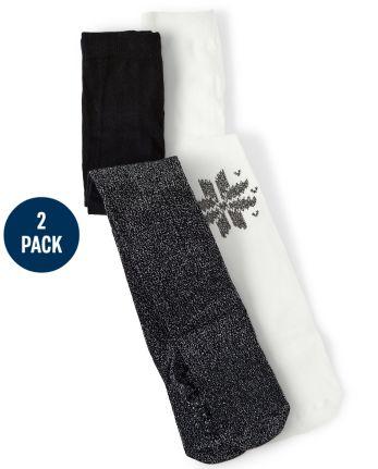 Girls Snowflake Tights 2-Pack - Reindeer Cheer