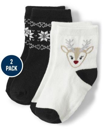 Girls Reindeer Midi Socks 2-Pack - Reindeer Cheer