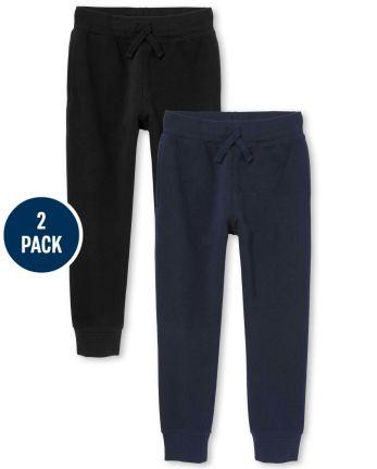Tia's Pick - Boys Uniform Fleece Jogger Pants 2-Pack