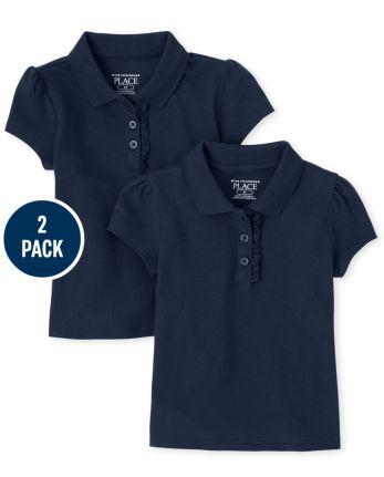 Paquete de 2 polos de piqué con volante de uniforme para niñas pequeñas