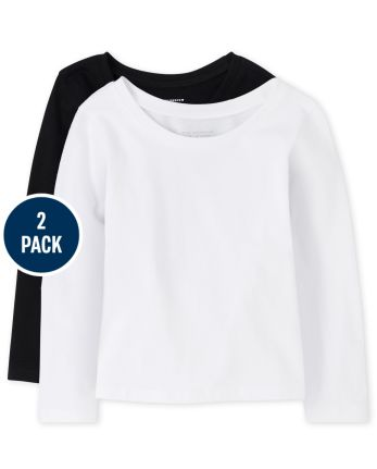 Paquete de 2 camisetas básicas de uniforme para niñas pequeñas