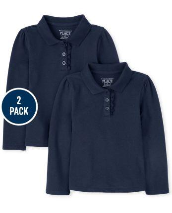 Conjunto de 2 polos de piqué con volantes y manga larga de uniforme para niñas pequeñas