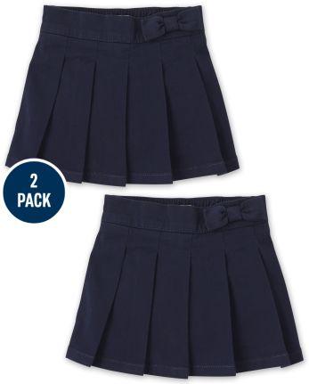 Ensemble de 2 jupes-culottes plissées avec nœud pour toute-petite fille