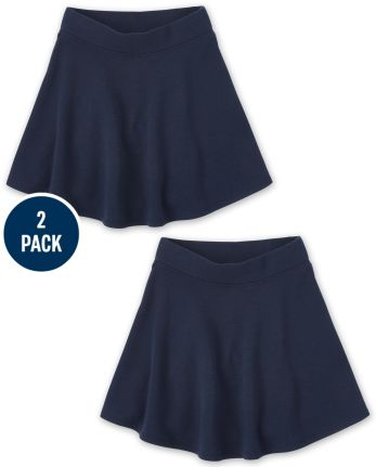Girls Uniform Active French Terry Skort 2-Pack