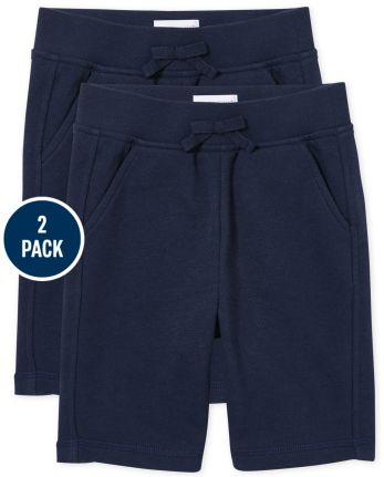 Girls Uniform Active French Terry Shorts 2-Pack