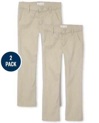 Girls Uniform Stretch Skinny Chino Pants 2-Pack