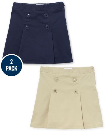 Girls Uniform Stretch Button Skort 2-Pack