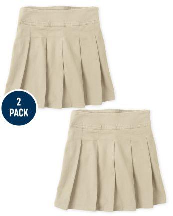 Girls Uniform Stretch Pleated Skort 2-Pack
