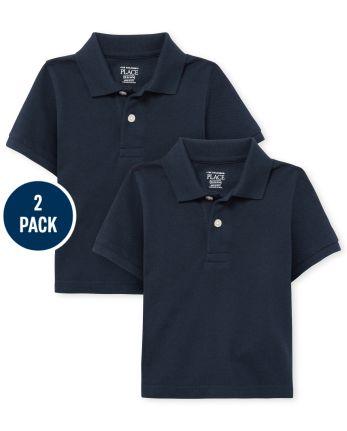 Lot de 2 polos d'uniforme en piqué pour tout-petits garçons