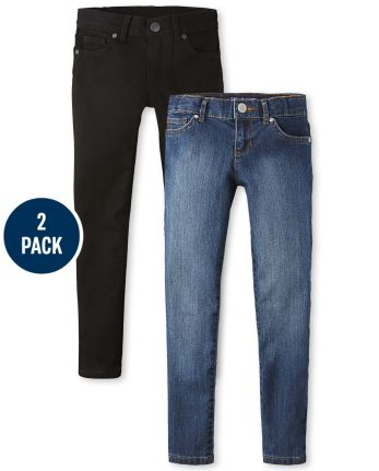 Girls Basic Stretch Super Skinny Jeans 2-Pack