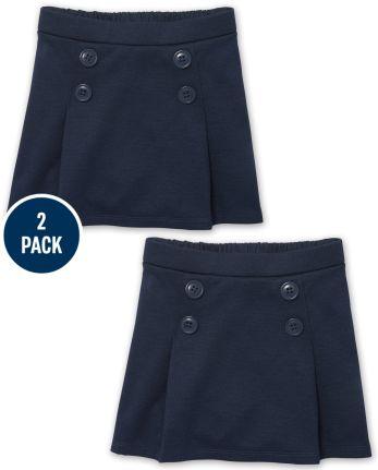 Toddler Girls Uniform Stretch Ponte Knit Button Skort 2-Pack
