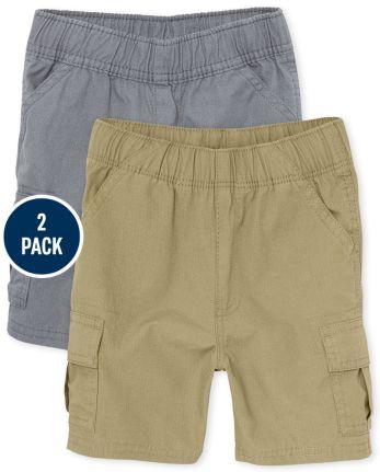 Toddler Boys Uniform Pull On Cargo Shorts 2-Pack