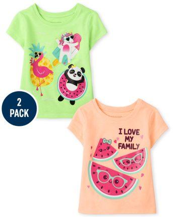 Toddler Girls Summer Graphic Tee 2-Pack
