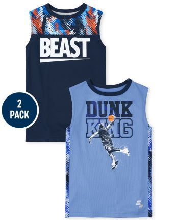 Boys Sports Performance Muscle Tank Top 2-Pack