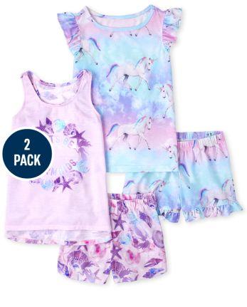 Girls Mermaid Unicorn Pajamas 2-Pack