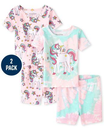 Baby And Toddler Girls Unicorn Snug Fit Cotton Pajamas 2-Pack