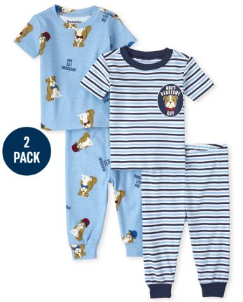 Baby And Toddler Boys Bull Dog Snug Fit Cotton Pajamas 2-Pack