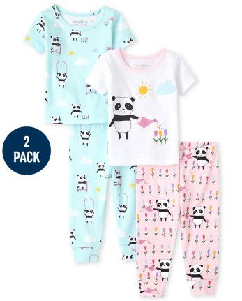 Baby And Toddler Girls Panda Snug Fit Cotton Pajamas 2-Pack