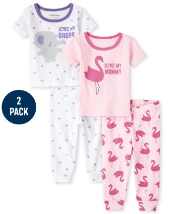 Baby And Toddler Girls Mommy And Daddy Snug Fit Cotton Pajamas 2-Pack