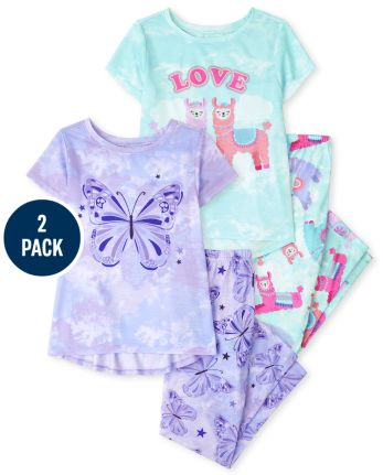 Girls Llama Butterfly Pajamas 2-Pack