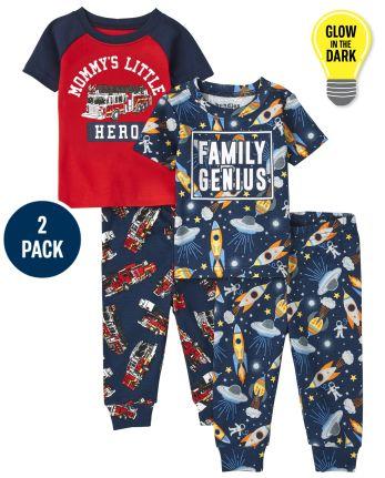 Baby And Toddler Boys Genius Hero Snug Fit Cotton Pajamas 2-Pack