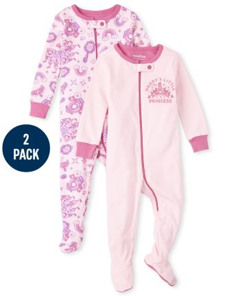 Baby And Toddler Girls Princess Snug Fit Cotton One Piece Pajamas 2-Pack