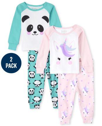 Baby And Toddler Girls Unicorn Panda Snug Fit Cotton Pajamas 2-Pack