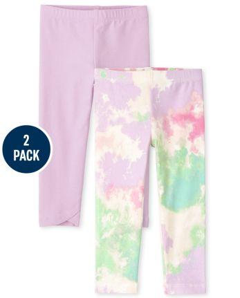 Pack de 2 leggings con efecto tie dye para niñas pequeñas